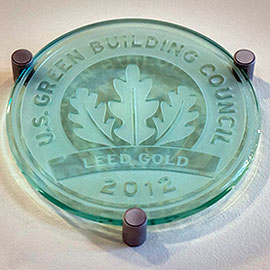 LEED Certification Plaque from the Trudy Fitness Center