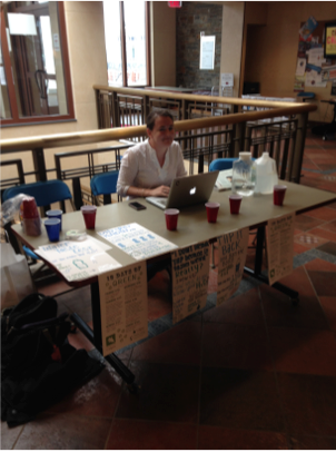 Sara Reese '16 runs the water taste test in the Coop.
