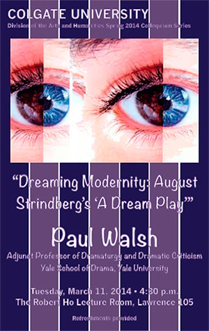 "Poster for the lecture ""Dreaming Modernity:  August Stringberg's 'A Dreamplay'"