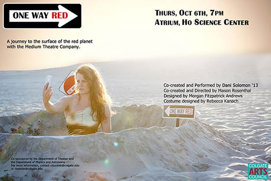 Dani Solomon '13 in a desert crater taking a selfie on a promotional poster for ONE WAY RED