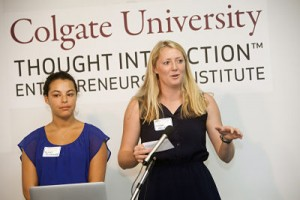Rachel Rosensweig '15 and Kirsten Halvorson '15 pitch to the class