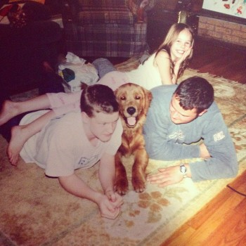 Jessie with her brothers and dog Riley