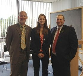 Augusta Gillespie, '13, meets with Madison County Department of Health Commissioner Michael Fitzgerald and Chairman of the Madison County Board of Supervisors John Becker