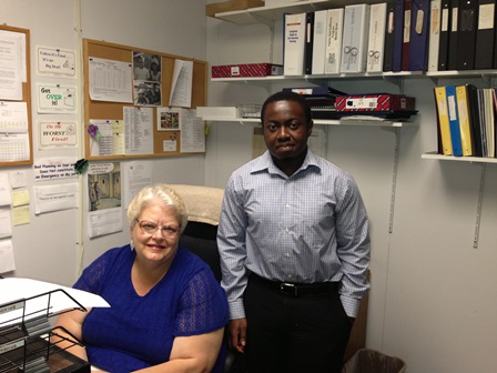 Albert Boateng '14 with Opportunities for Chenango colleague Sharon Waters Cavness.