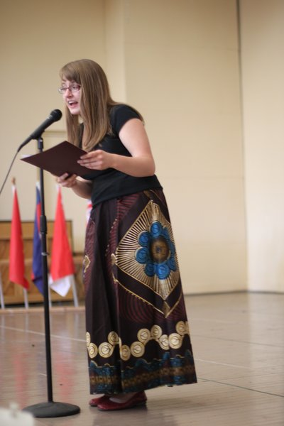 Ewa Protasiuk, '15, participates in World Refugee Day at the Mohawk Valley Resource Center for Refugees