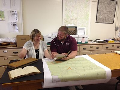 Brendan Walsh '15 works with Sue Reymers in the Town of Hamilton office.