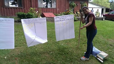 Yusra Siddique '15 collects data on Open Farm Day at Fruit of the Fungi farm.