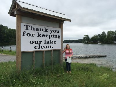 Katelyn Parker '16 is working to keep Lake Moraine free of aquatic invasive species.