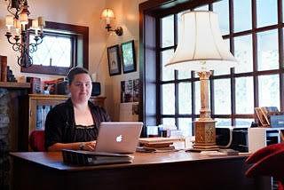 Kris Pfister '17 in the library at the Horned Dorset Colony in Leonardsville, New York