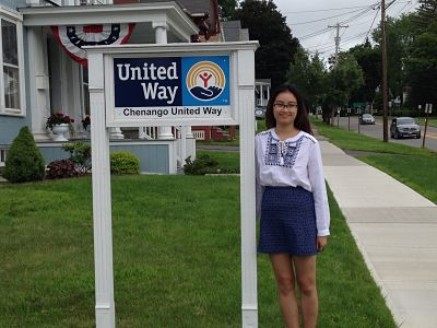 Chi Nguyen '18 is working with the Chenango United Way this summer.