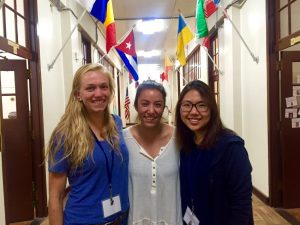 Sarah Wylie '18, Marissa Roberge '17 and Jinsuh Cho '18 at MVRCR